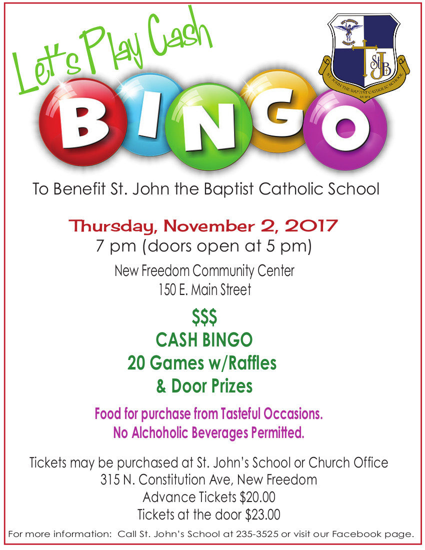 BINGO benefiting St. John the Baptist Catholic School @ New Freedom Community Center | New Freedom | Pennsylvania | United States