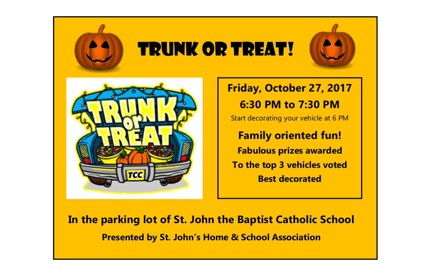HSA Trunk or Treat @ St. John the Baptist School Parking Lot | New Freedom | Pennsylvania | United States